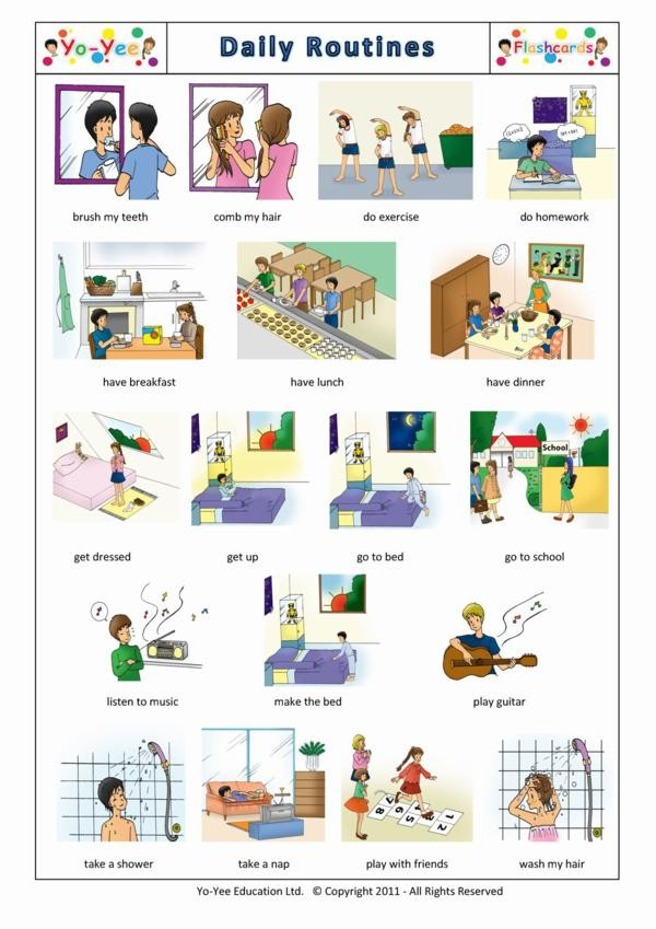 Daily Routines Flashcards For Kids