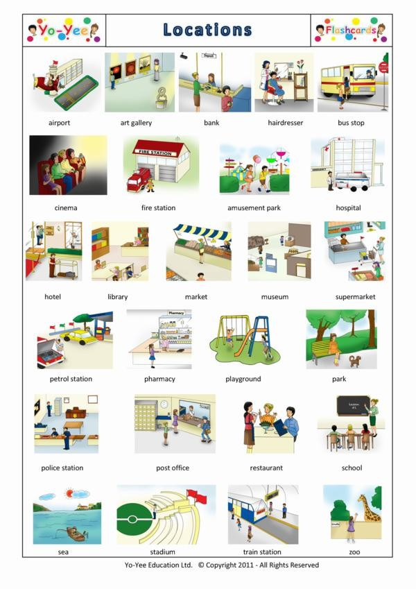locations and places flashcards for children