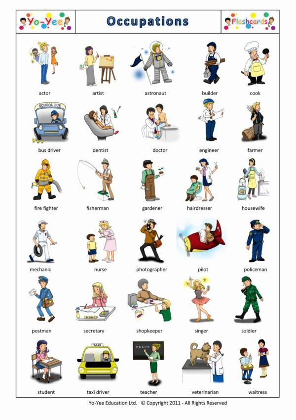 jobs and occupations flashcards for children ocupaciones
