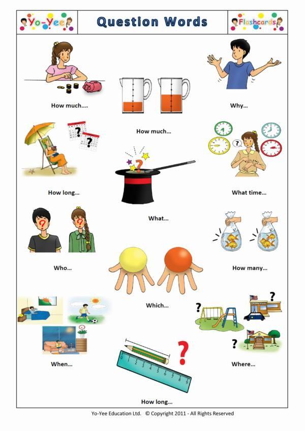 Question Words Flashcards for Children