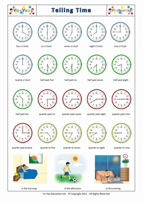 Telling Time and Clock Reading Flashcards for Kids