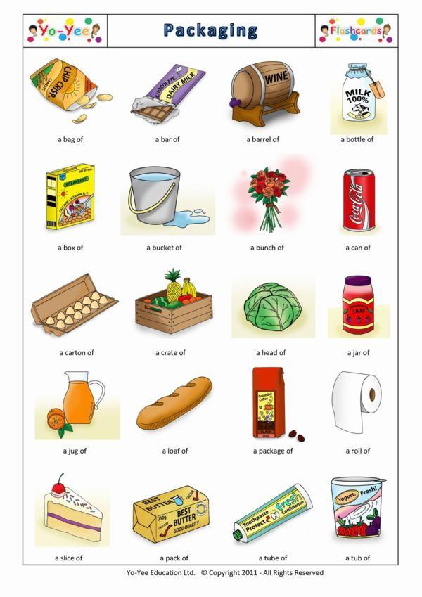 Packaging flashcards for kids | Embalaje | Teaching kids packaging ...