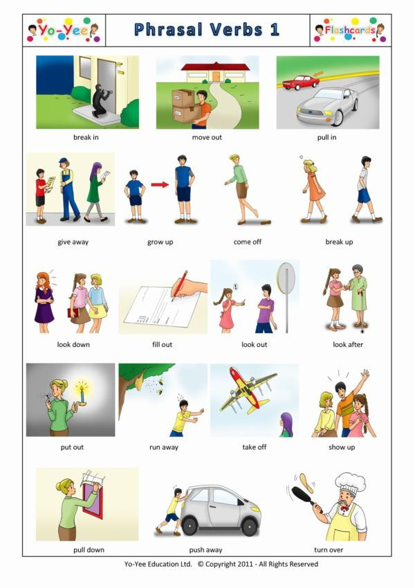 phrasal verbs flash cards for children