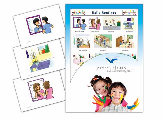 Daily routines flashcards in french for kids la routine