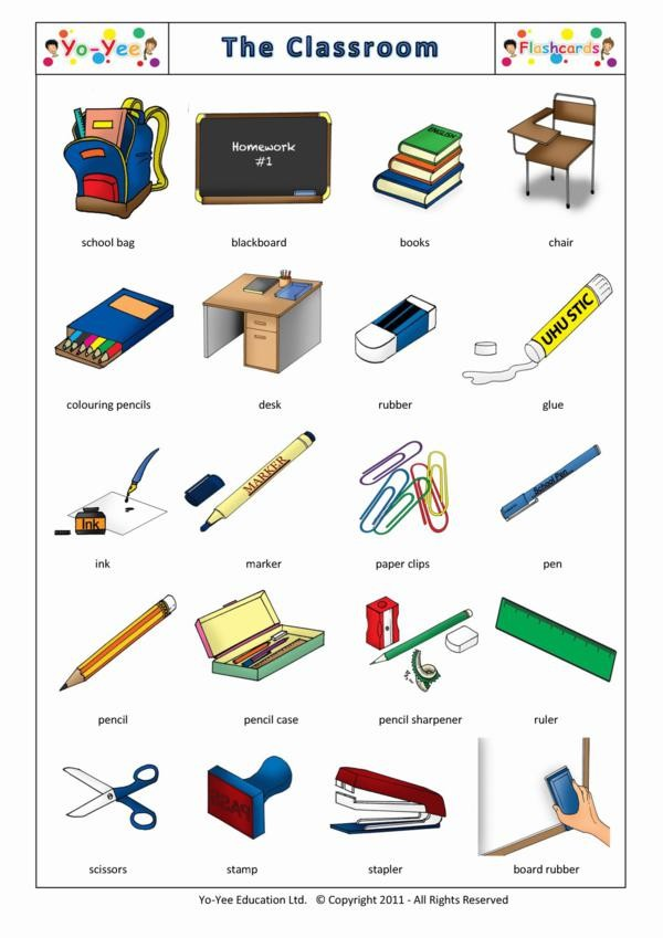 Classroom and stationary flashcards for kids for 10 objetos del salon de clases en ingles