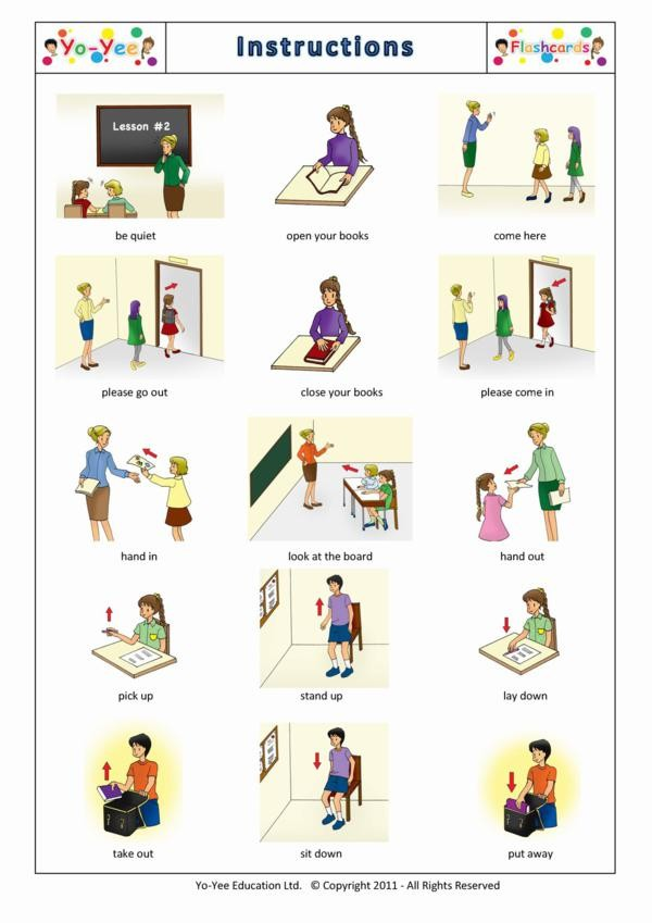 Classroom Instruction Flashcards For Children Instrucciones