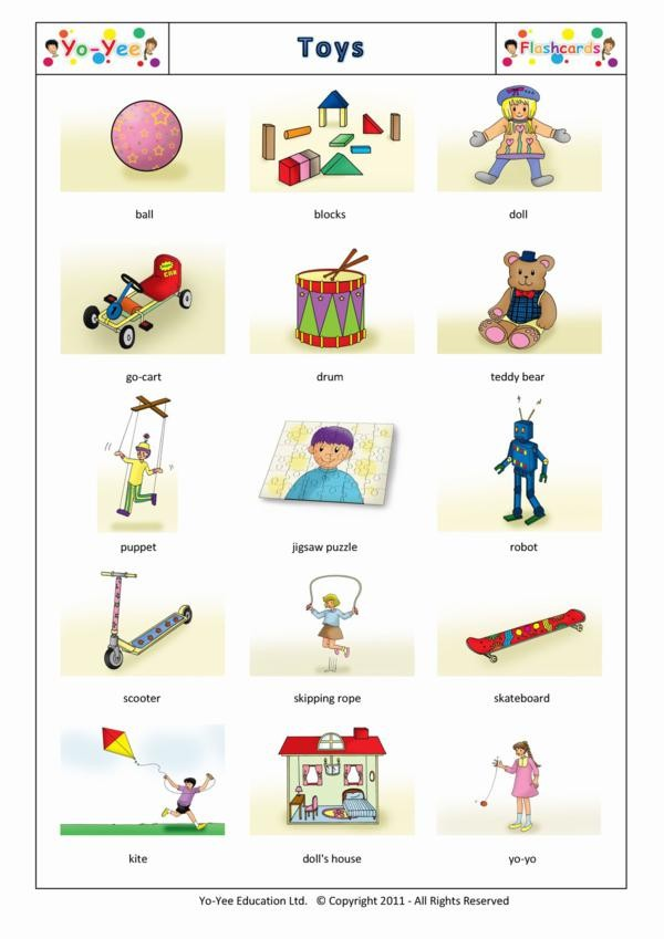 toys flashcards for children