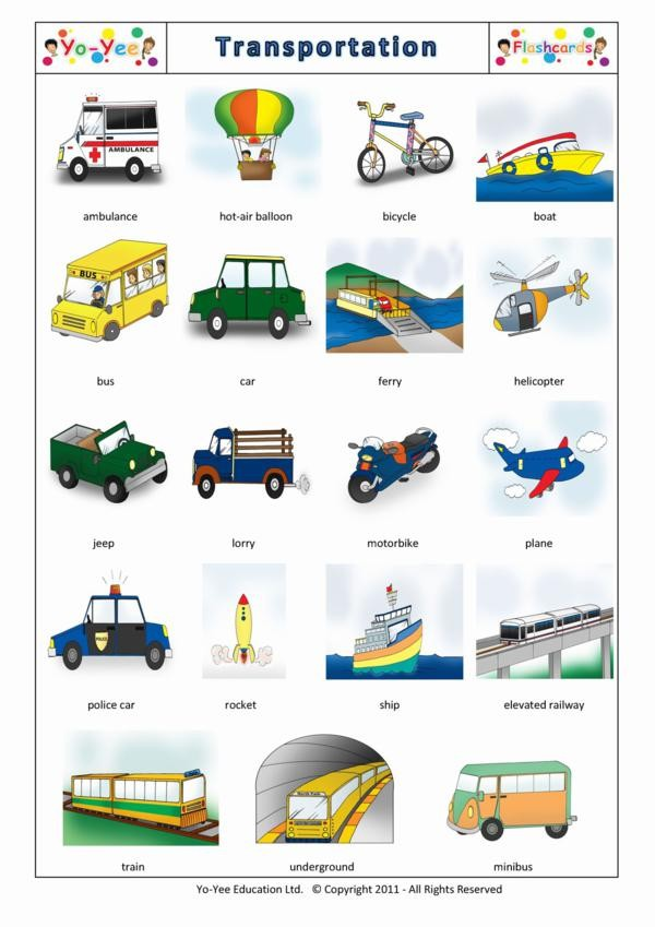 Transportation and vehicle flashcards for kids for Piscine meaning in english