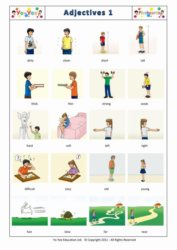 adjectives flash cards for young children