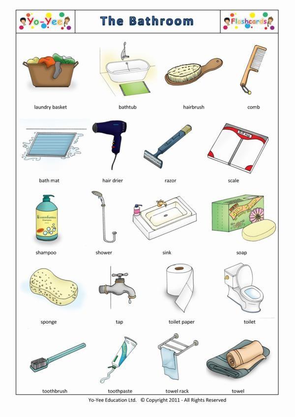 Bathroom Flashcards For Children La Salle De Bain