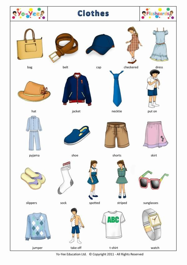 clothing and apparel flashcards for kids