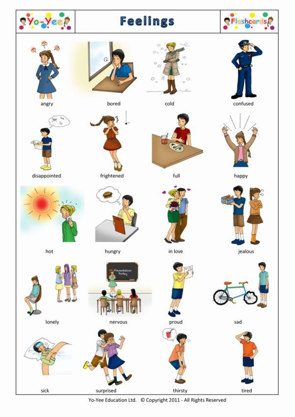 feelings and emotions flashcards for children