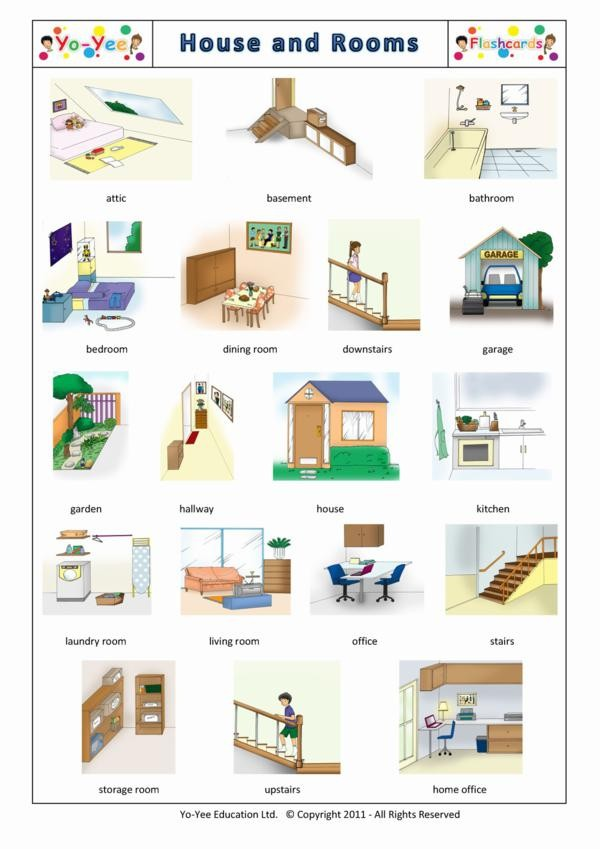 House and rooms flashcards for kids maison et chambres for Chambre a coucher vocabulaire
