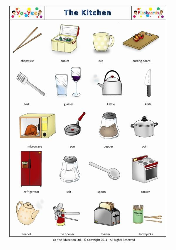 Kitchen flash cards for children la cocina for Liste des ustensiles de cuisine