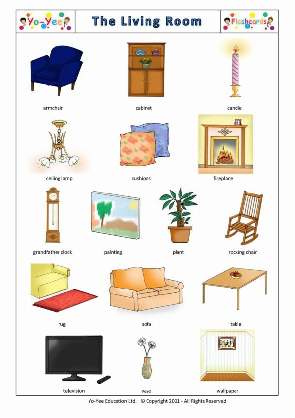 Living Room And Furniture Flash Cards For Kids