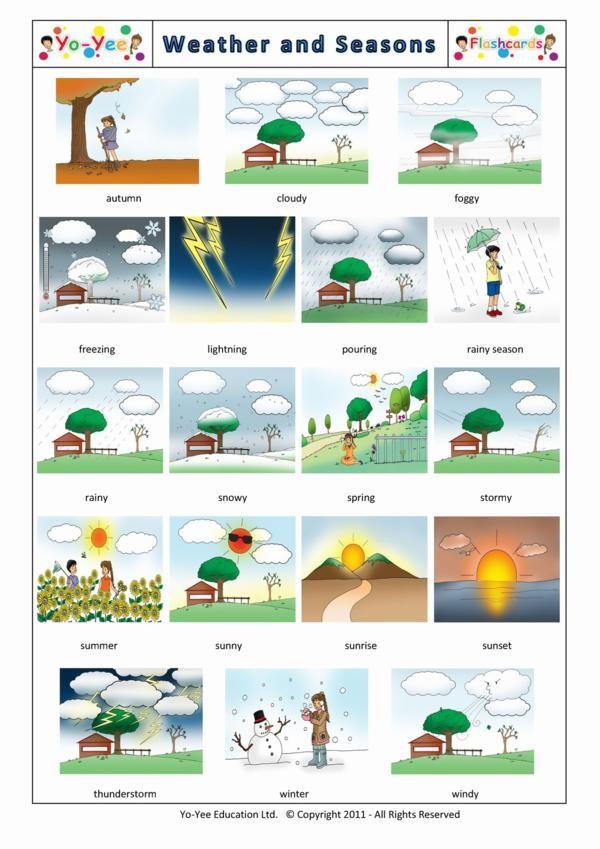 weather and seasons flashcards for kids el clima y las estaciones. Black Bedroom Furniture Sets. Home Design Ideas