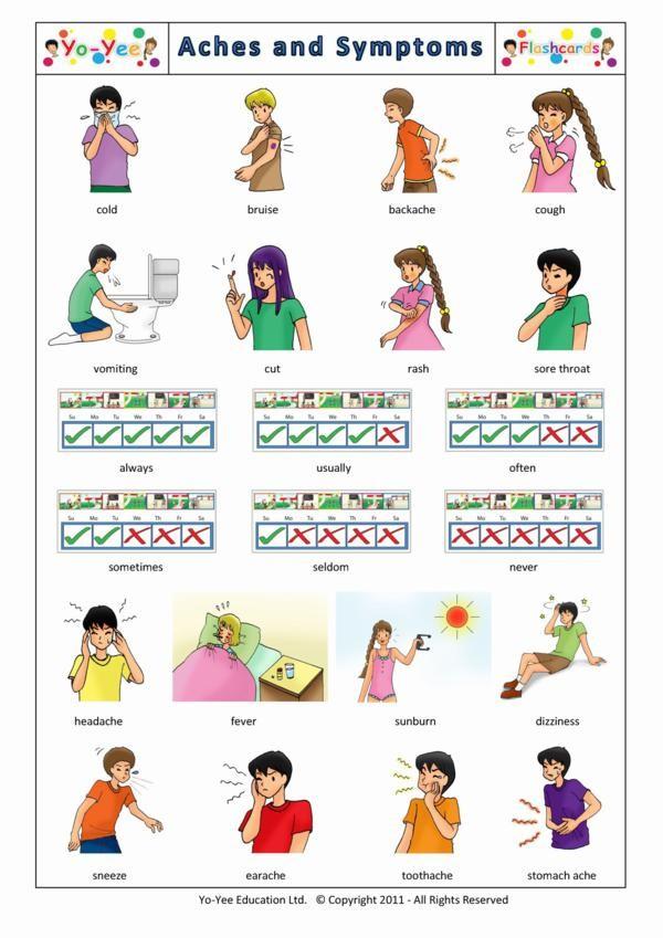 Aches and Symptoms flashcards for kids | Symptômes et ...