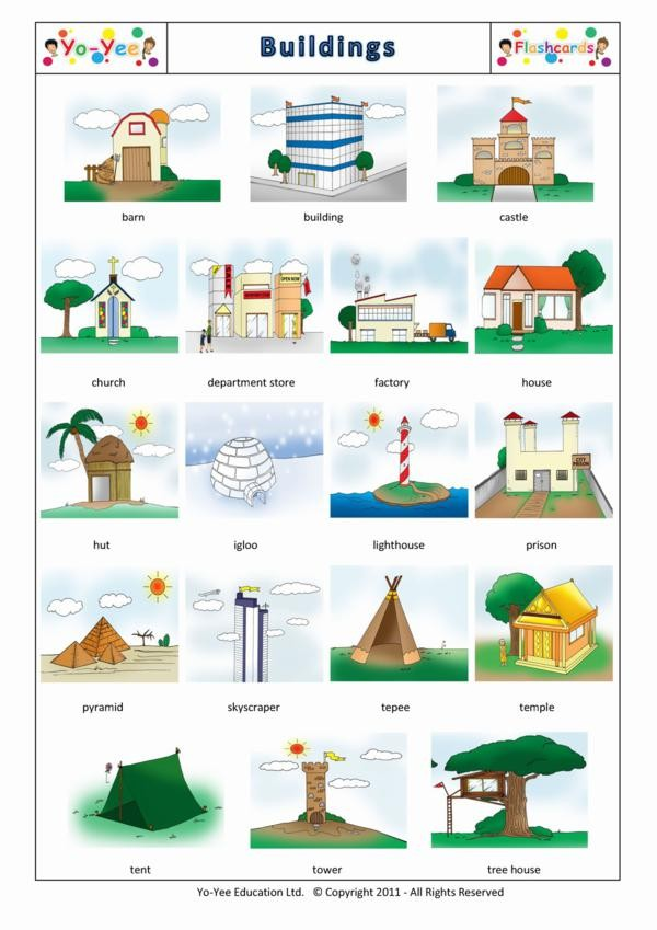 Buildings Flashcards For Children 建筑物 Teaching