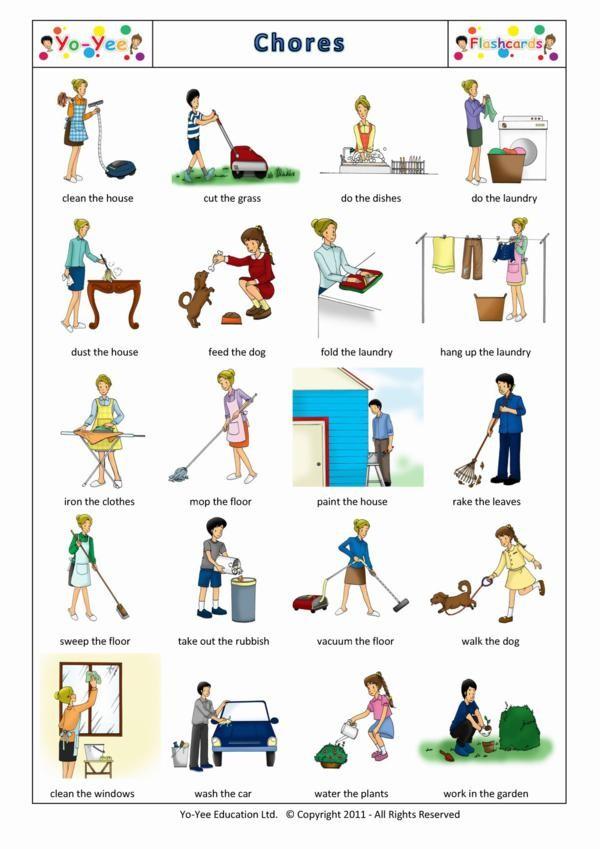 chores flashcards for children