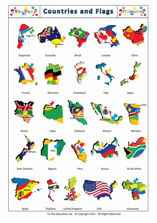Countries And Flags Flashcards For Kids Pa 237 Ses Y