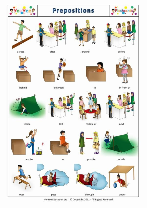 Prepositions of Place Flashcards for Kids